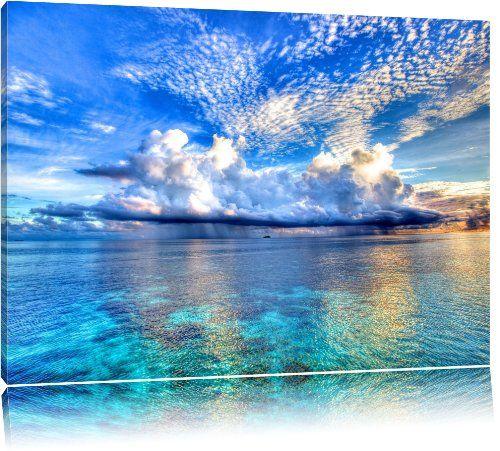 Korallenriffe Australien Format: 120x80 cm auf Leinwand, XXL riesige Bilder fertig gerahmt mit Keilrahmen, Kunstdruck auf Wandbild mit Rahmen, günstiger als Gemälde oder Ölbild, kein Poster oder Plakat