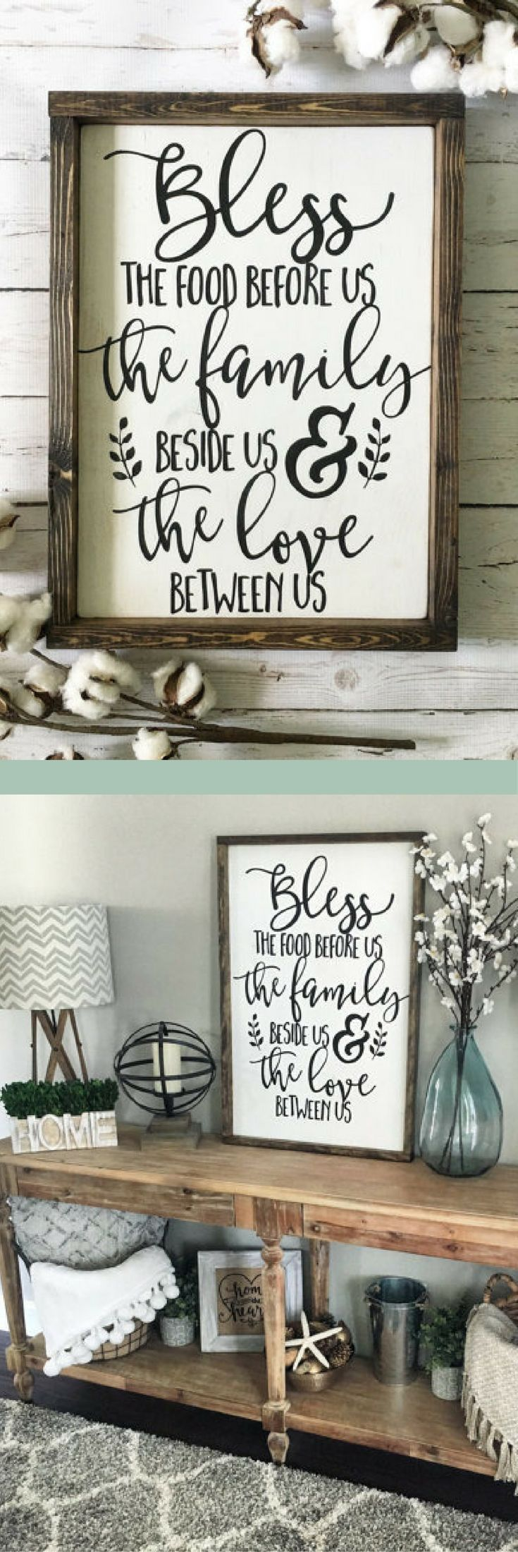 Bless The Food Before Us Wood Sign, Rustic Wood Sign, Framed Sign, Kitchen
