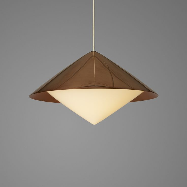 Lot 245: Svea Winkler. pendant lamp. c. 1964, copper, acrylic, rubber. 18½ dia x 11 h in. estimate: $700–900. Signed with impressed manufacturer's mark to socket: [Orno].