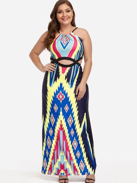 da51d1bd3f4 Plus Size Floral Print Cut Out Maxi Dress  yoins Plus size outfits Plus  size fashion Plus size dresses Plus size blouses Fashion outfits Womens  fashion