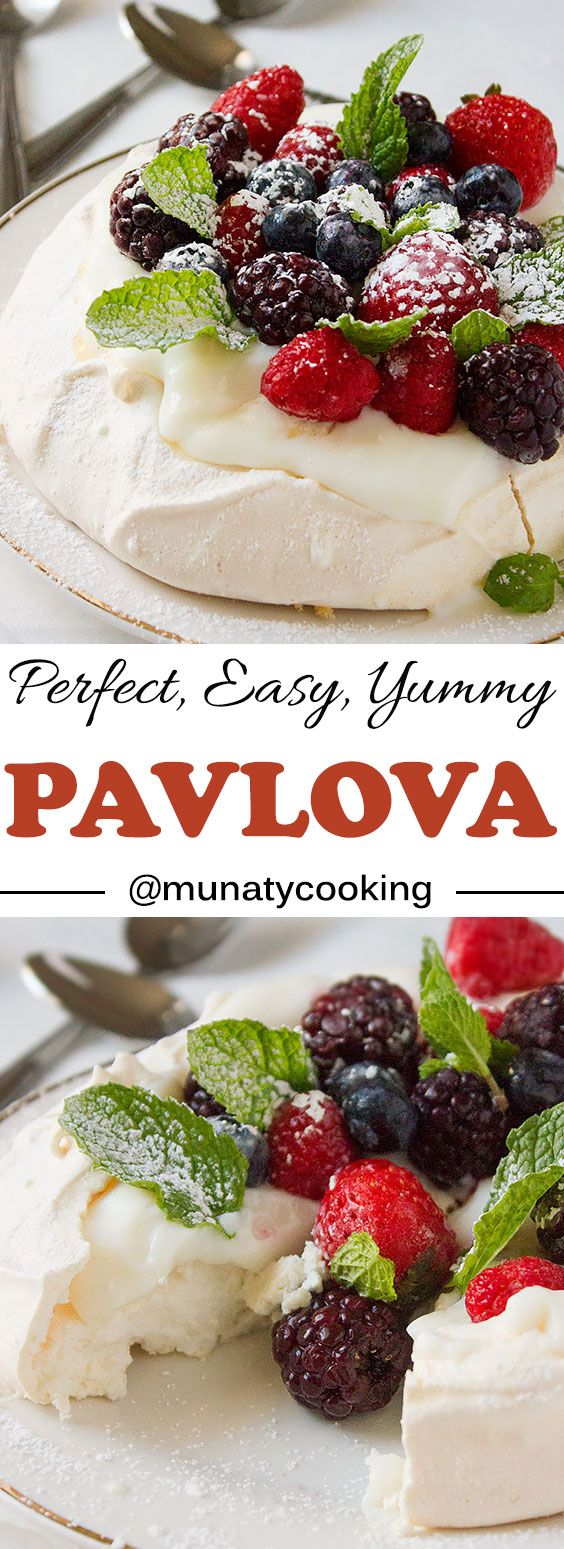 Pavlova recipe. An elegant and classic dessert, never hesitate to make it again. Follow very simple straight forwards steps to create the perfect pavlova dessert. www.munatycooking.com | @munatycooking.