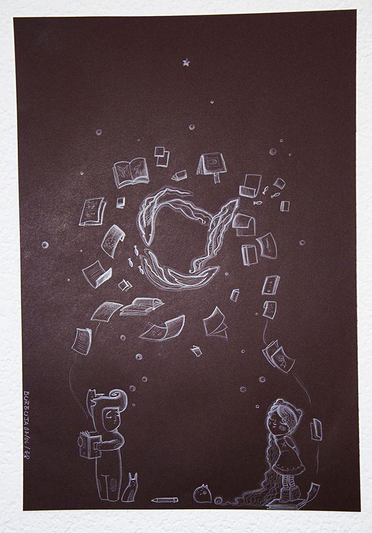 Papeles flotando…Otra noche dibujada. Papel de color más lápiz blanco. Tamaño 32 x 47 cm. Tom Jobim sonando. Junio 2013.