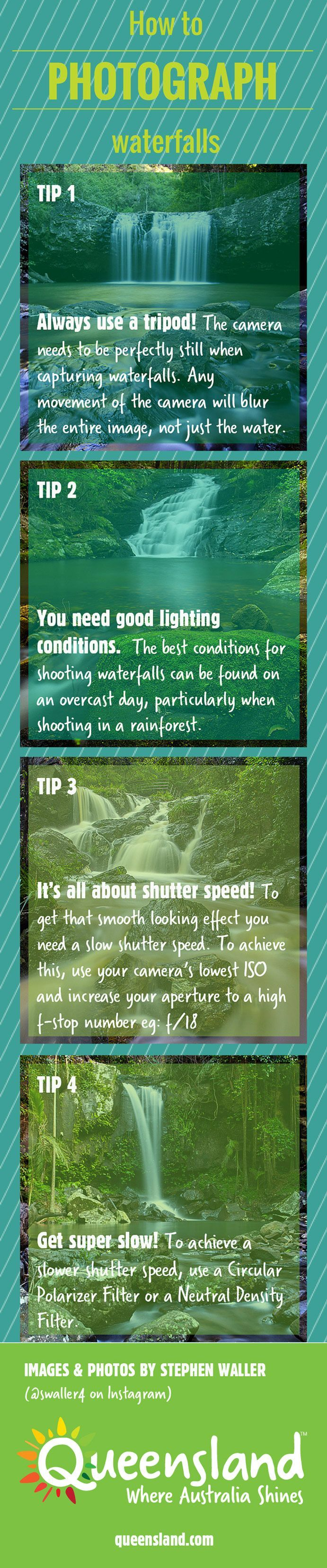 Photography Tips | How to photograph waterfalls INFOGRAPHIC  http://tipsrazzi.com/ppost/547187423463323133/