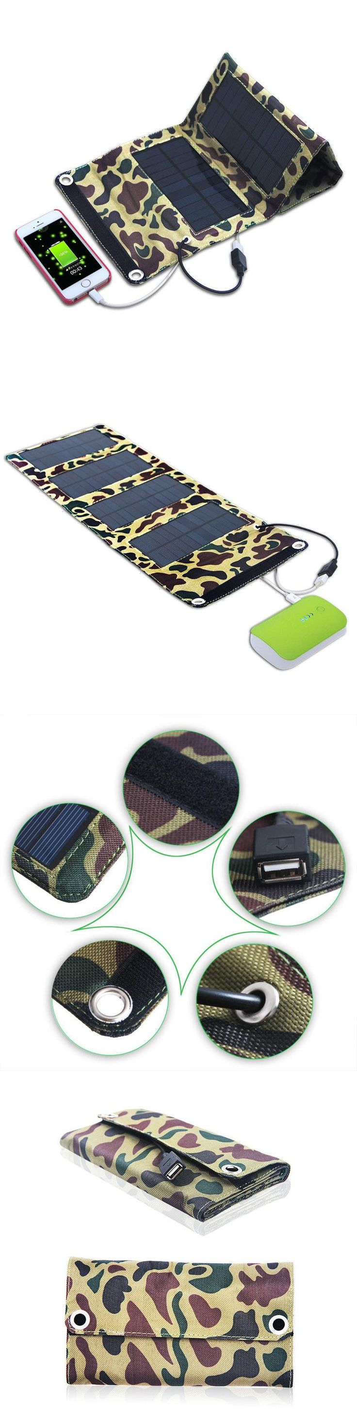7W High efficiency 4 folded Como Solar Charger with internal USB Port solar panel bag for iPhone 6s/6Plus,Pad,Galaxy S6 and More