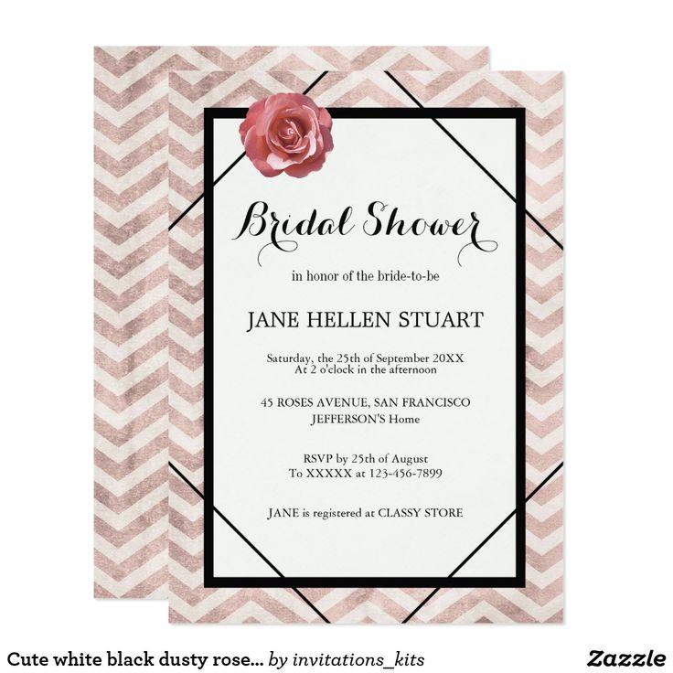 Cute white black dusty rose chevron bridal shower card