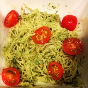 Pesto spaghetti squash: the squash was more prep than I anticipated (note: you can microwave squash to prep it in half the time!). Also, this recipe only yielded about 2.5 servings.