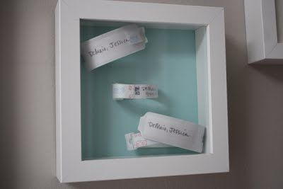 Framed hospital bracelets from mommy, daddy and baby
