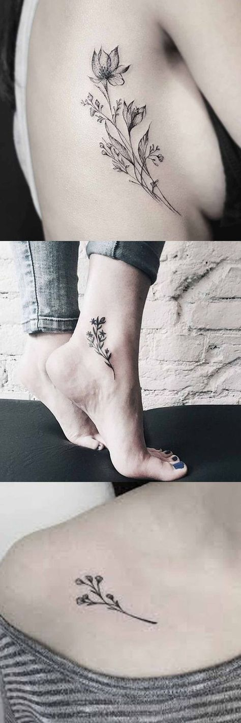 Vintage Wild Rose Tattoo Ideas for Women - Flower Ankle Foot Tatt - Traditional Black and White Floral Shoulder Tat at MyBodiArt.com #AwesomeTattoos