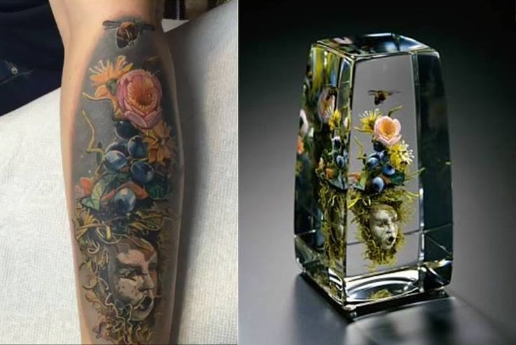 Paul Stankard 7 hrs  ·    A former Salem Community College glass student sent me this tattoo interpretation of my Tea Rose Bouquet with Honeybee and Mask. The tattoo artist is Enya Mahuta working out of a studio in New York City. I was both honored and impressed with the artistic integrity of her work and how my sculpture could translate into another art form.