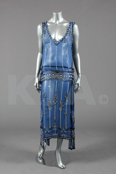 A blue chiffon flapper dress, early 1920s