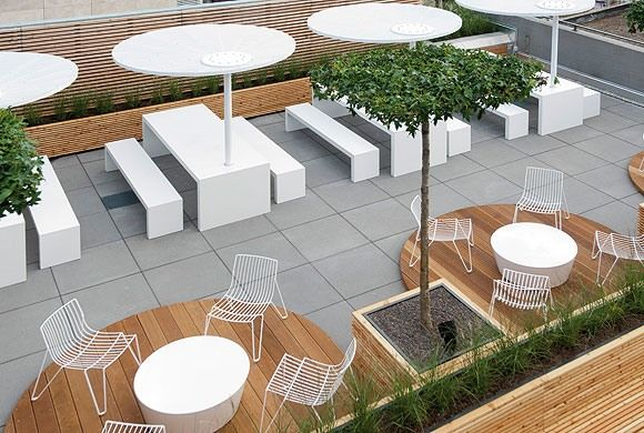 Breuninger Canteen With Terrace Picture Gallery In 2020 Canteen Design Cafeteria Design Rooftop Design