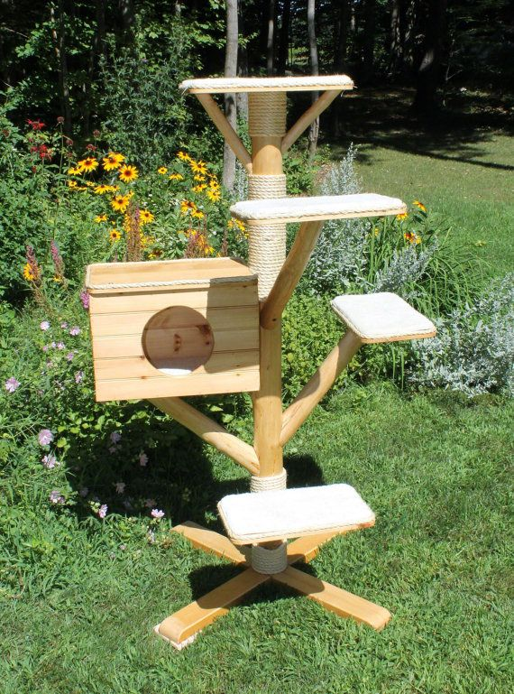 Rustic Log cat tree (bed and scratcher) house by ...