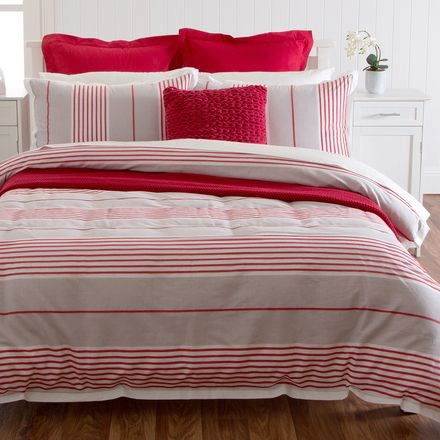 Maybe a bit too red!!  Could tone down with white euros, no throw and beige and white cushion