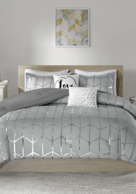 Intelligent Design  Raina Gray And Silver Comforter Set - Grey - Twin