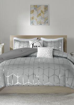 Intelligent Design  Raina Gray And Silver Comforter Set - Grey - Twin