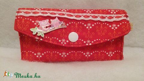 Meska - Piros mintás papirzsebkendő tartó solba66 kézművestől