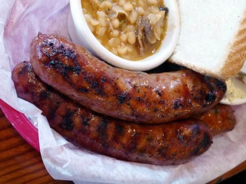 The three-sausage plate is an immense amount of food. Each one of these big, succulent Cajun links could be an entrée on its own.