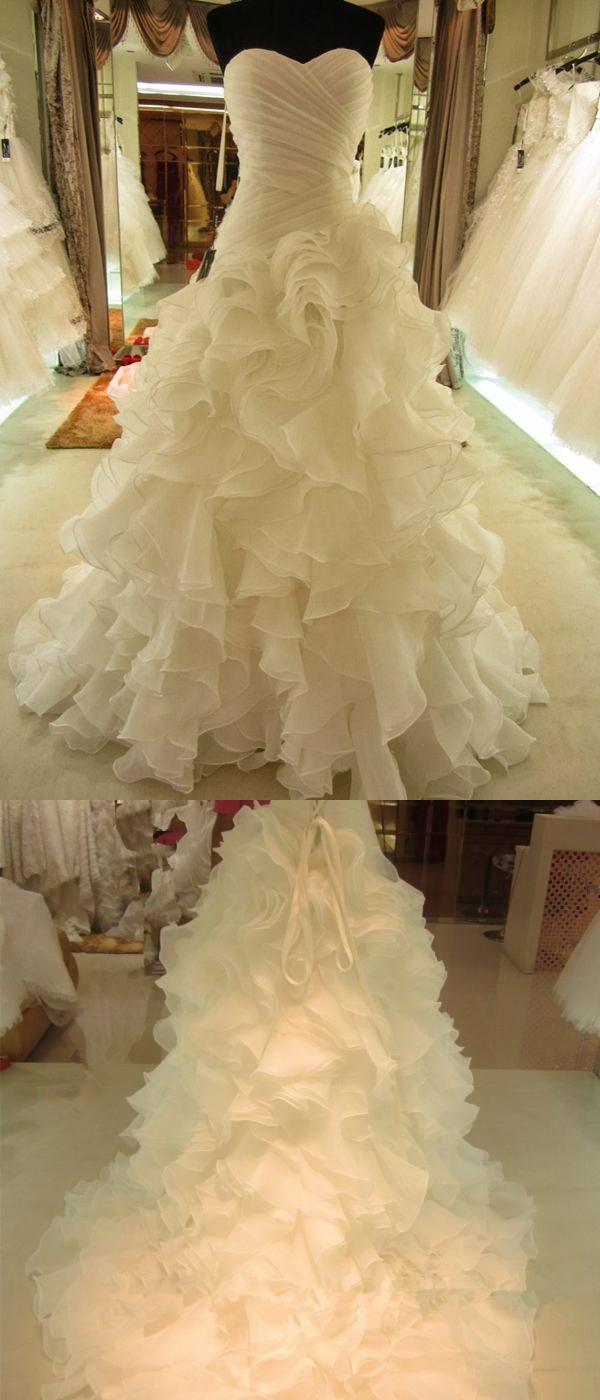 Timeless Sweetheart Ball Gown Bride Dress, Sweep Train Organza Wedding Dress Tiered