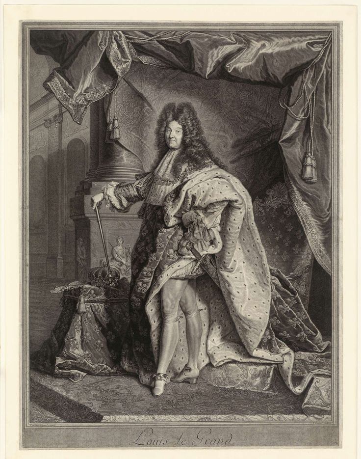 Portret van Lodewijk XIV, Pierre Drevet, Hyacinthe Rigaud, ca. 1701 - ca. 1702