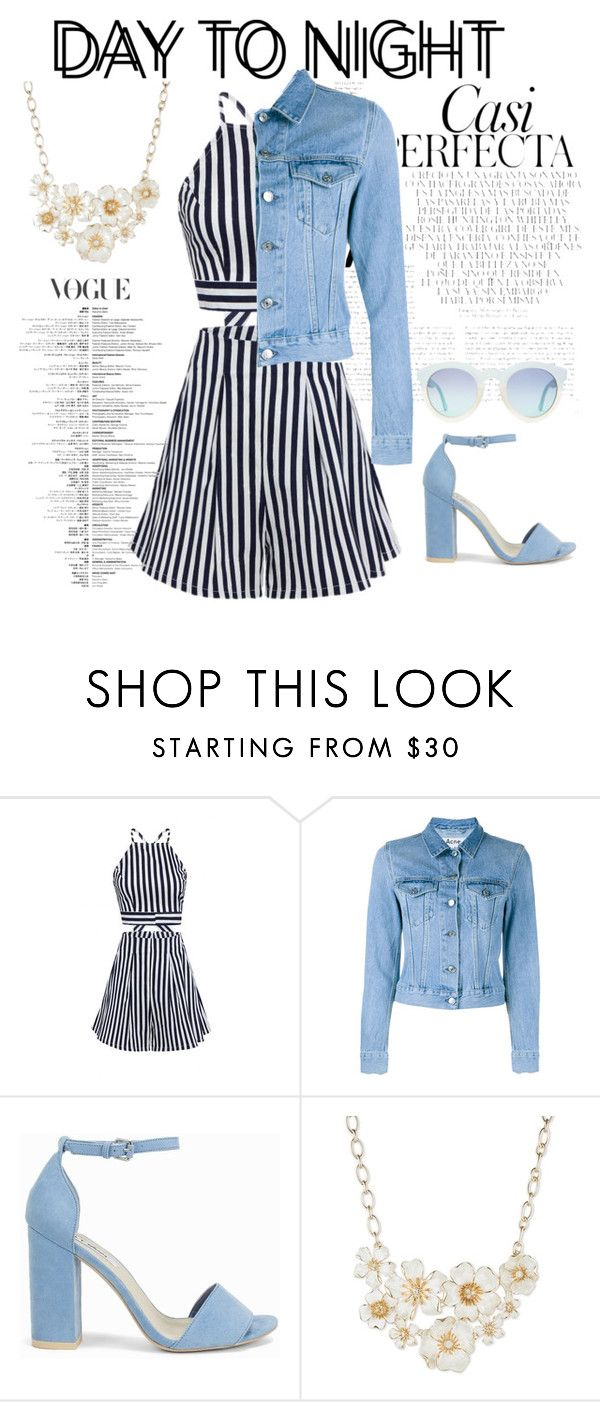 """Day to night by Ro."" by ro-mondryk on Polyvore featuring Whiteley, Acne Studios, Nly Shoes, Anne Klein, DayToNight and romper"
