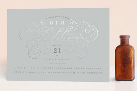 """Glitz"" - Foil-pressed Wedding Invitations in Noir by Lori Wemple."