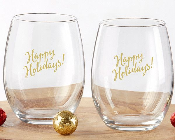 "Happy Holidays 15 oz. Stemless Wine Glass (Set of 4). Get into the holiday spirit by sipping your favorite vintage by the fire out of our Happy Holidays 15 oz. Stemless Wine Glasses! Sold in sets of 4, these are just the holiday wine glasses you've been looking for to enhance your holiday parties. The gold ""Happy Holidays!"" message goes with any sort of seasonal decor and without a stem, you'll also find that these stemless wine glasses are sturdier and simpler to store! Features and facts…"