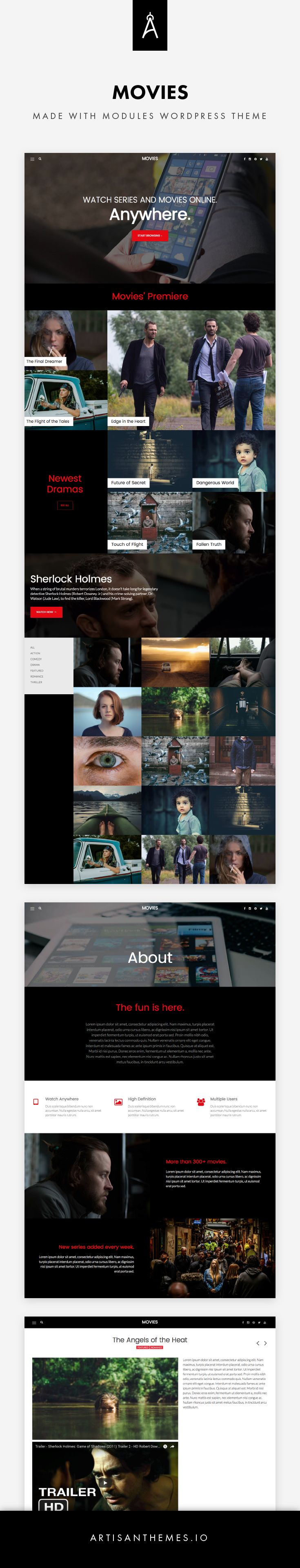 Movies, a site ready to be installed made with Modules WordPress Theme by Artisan Themes.  Inspired on a very famous online streaming site , a ready made site that can serve a movies/TV series catalog, a film production company or any other entertainment site.