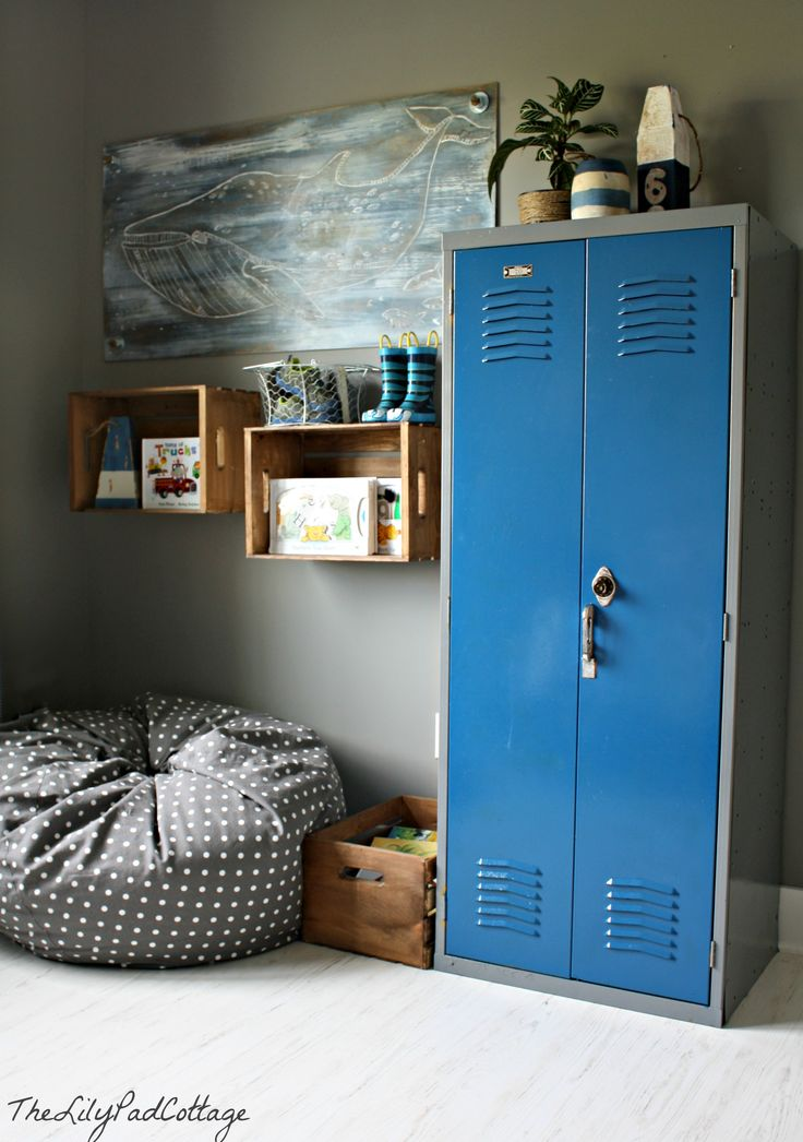 Nautical Big Boy Room, Bedroom Ideas, Home Decor, I Found This Fun Locker  At A Vintage Store And Attached These Crates To The Wall For Book Storage