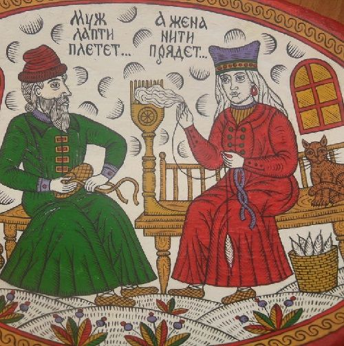 Antique handmade dish. Painted in the style of Russian folk on ancient subjects. Hand painted with acrylic paints