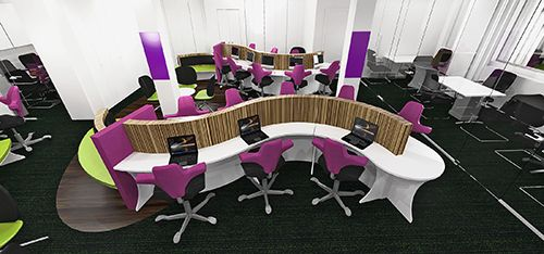 Inspirational modern snake desking for offices, 3D design www.rapofficecontracts.com