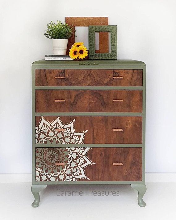 Vintage Chest Of Drawers In Green With Mandala Pattern Upcycled Dresser Rustic Painted Drawers Painted Furniture Green Furniture Stencil Furniture Diy Furniture Flip Flipping Furniture