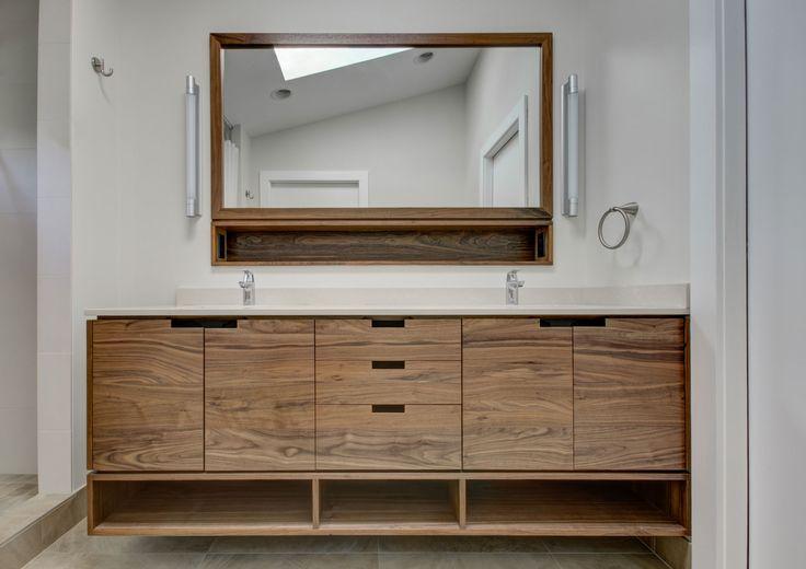 Custom Walnut Vanity In Nw Portland Dormer Addition Hammer Hand Bathroom Design