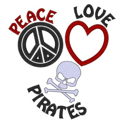 Peace (124) Peace Love Pirates Applique 5x7