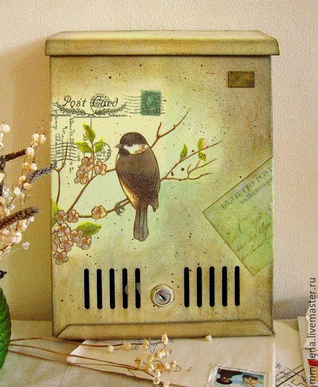 """Купить Почтовый ящик """"Весенний"""" - салатовый, бежевый, светло-желтый, коричневый, почтовый ящик, для писем"""