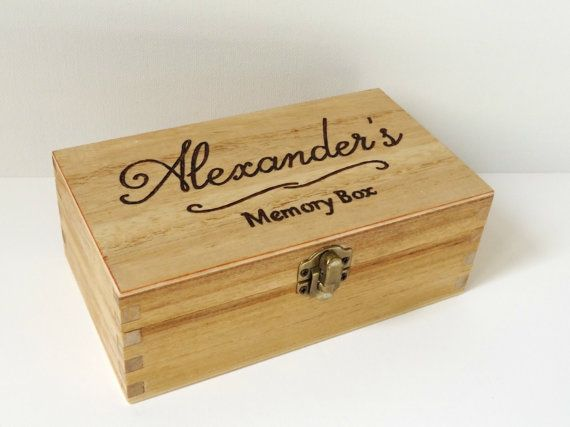 Personalised engraved wooden box  Wooden Memory Box by MakeMemento