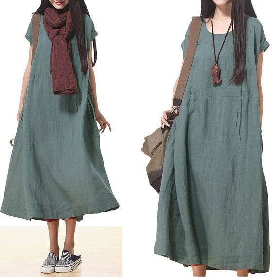 gray green color Loose Fitting Linen Long Shirt by clothnew88, $68.99