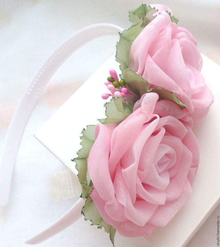 """Купить Ободок с розами из ткани """"Розовые сны"""" - розовый, ободок для волос, ободок с цветами, ободок"""