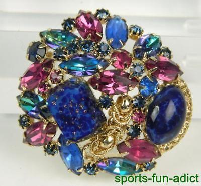 Vintage JULIANA Lapis Lazuli Rhinestone Gold Tone Ornate Brooch Pin