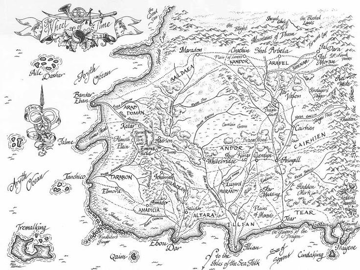A map of the Lands between the Mountains of Dhoom, the Aryth Ocean, the Sea of Storms and the Spine of the World, from Robert Jordan's Wheel of Time series.