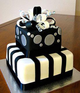 Black & Silver Present 30th Birthday Cake | by esbs cakes