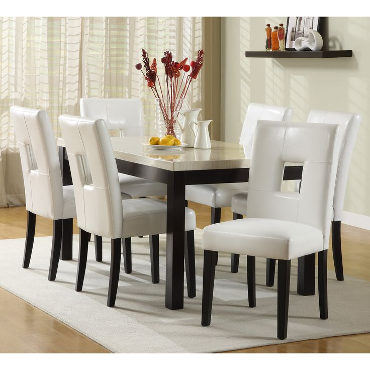 7 piece black dining room set. This beautiful white 7 piece dining set would make a stylish addition to  your room The comfortable faux leather chairs feature contemporary 23 best Fine images on Pinterest Dining