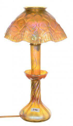 RARE 12 1 2 TIFFANY ART GLASS GOLD IRIDESCENT CANDLE HONEYCOMB RUFFLED