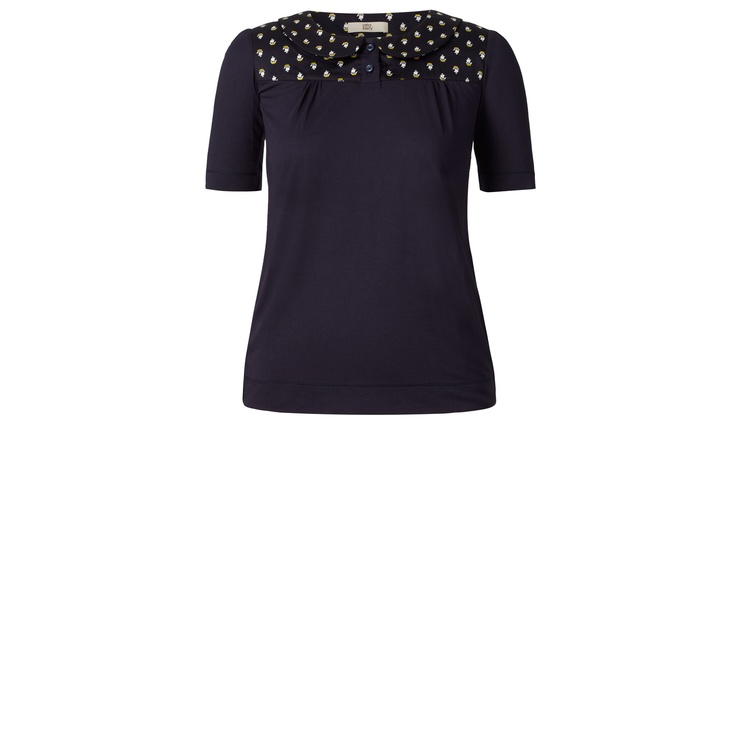 Orla Kiely: Viscose top with a cotton woven fabric insert at the yolk in 'Little Galleon' print. Cute collar detail and button through at neckline.        Length: 24.4in