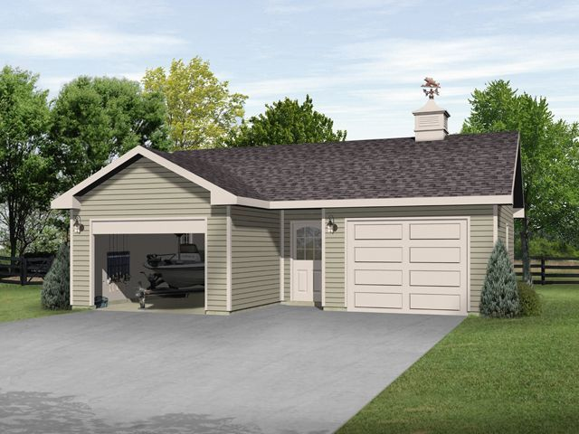 Two car garage plan with one bay deep enough for boat for 2 bay garage plans