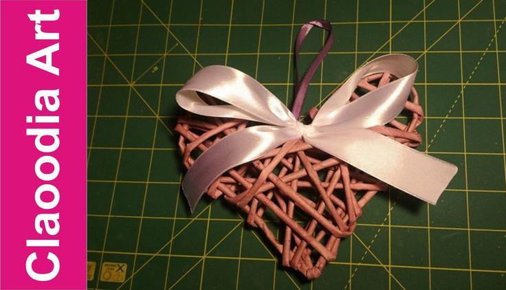 Serce z papierowej wikliny krok po kroku, walentynki [heart, paper wicke...