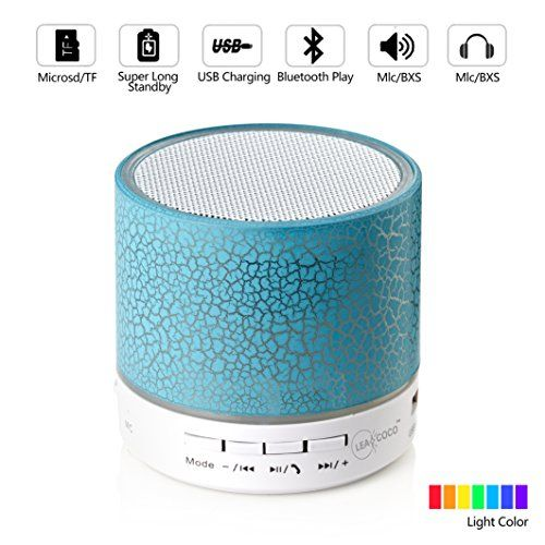 Leacoco Mini Wireless Portable Bluetooth Speakers with Mic and Sucker Portable Small Stereo for iPhone and Android System Equipment Etc. ·√ Two connection methods- bluetooth connection and interface connection. Bluetooth connection could support desktop computer, notebook computer, iPad, iPhone, Android, MP3/4, PSP; Interface connection can support AUX(the universal 3.5mm), USB, MicroSD/TF, U-disk and headphone jack. ·√ The body of bluetooth could glare dynamic and mu