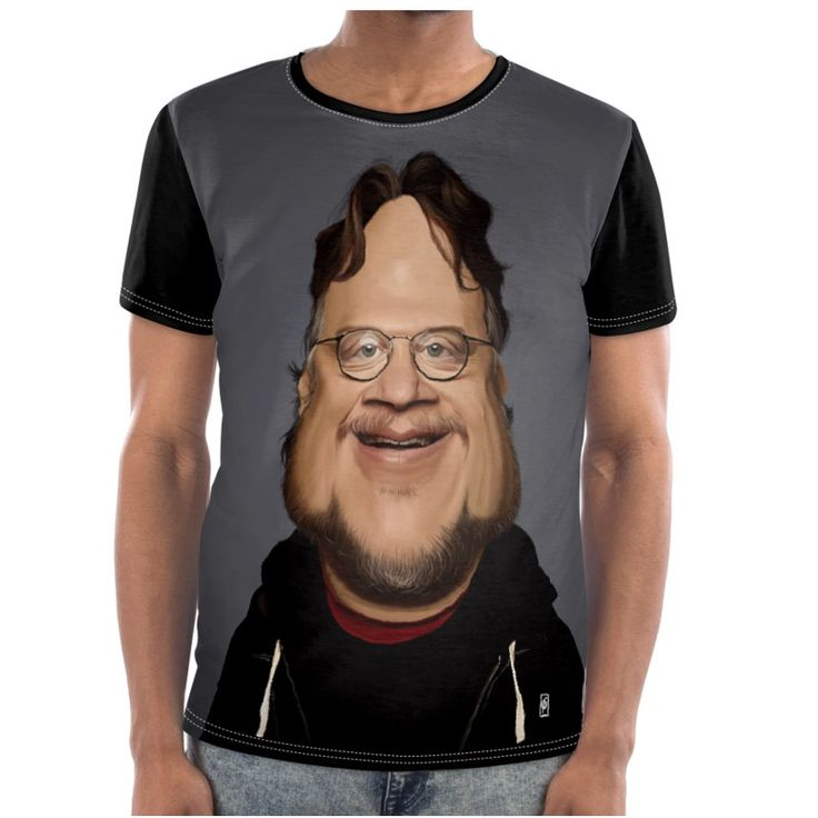 Guillermo Del Toro Celebrity Caricature Cut and Sew T Shirt art   decor   wall art   inspiration   caricature   home decor   idea   humor   gifts