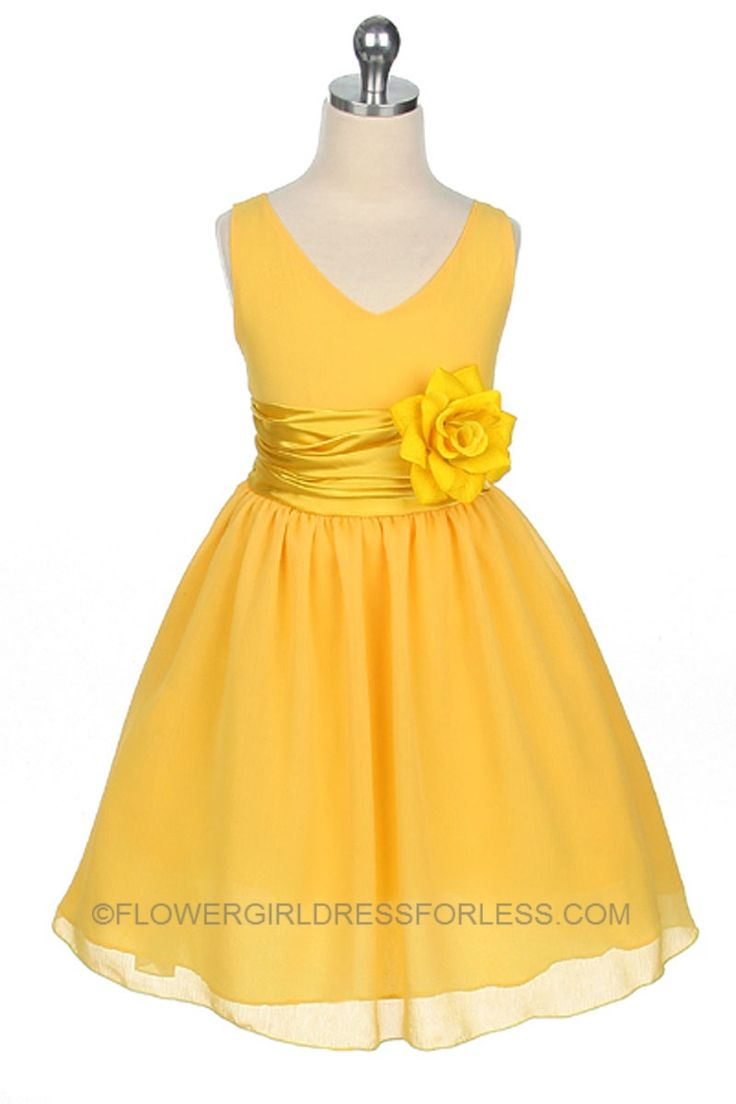 MB_1082Y - Flower Girl Dress Style 1082- Yellow Crepe Dress with charmeuse Waist Sash - Yellows - Flower Girl Dress For Less