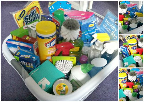 Cleaning Supplies In A Laundry Basket Or Mop Bucket Great Idea For College Student Moving Out The First Time Practical Gift Ideas