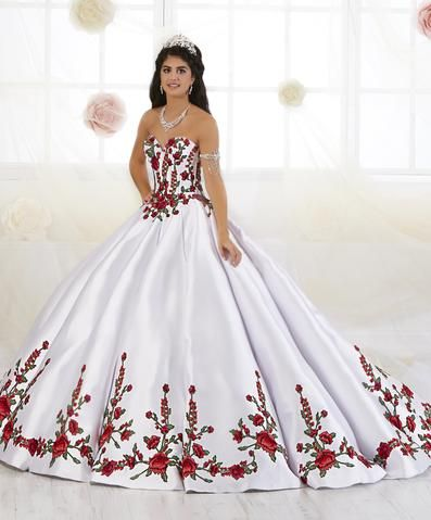 9a0540d2a52 Floral Embroidered Quinceanera Dress by House of Wu 26908 in 2019 ...